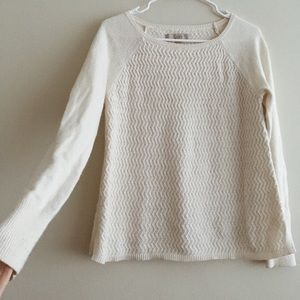 LOFT// Small Cream Chevron Sweater EUC